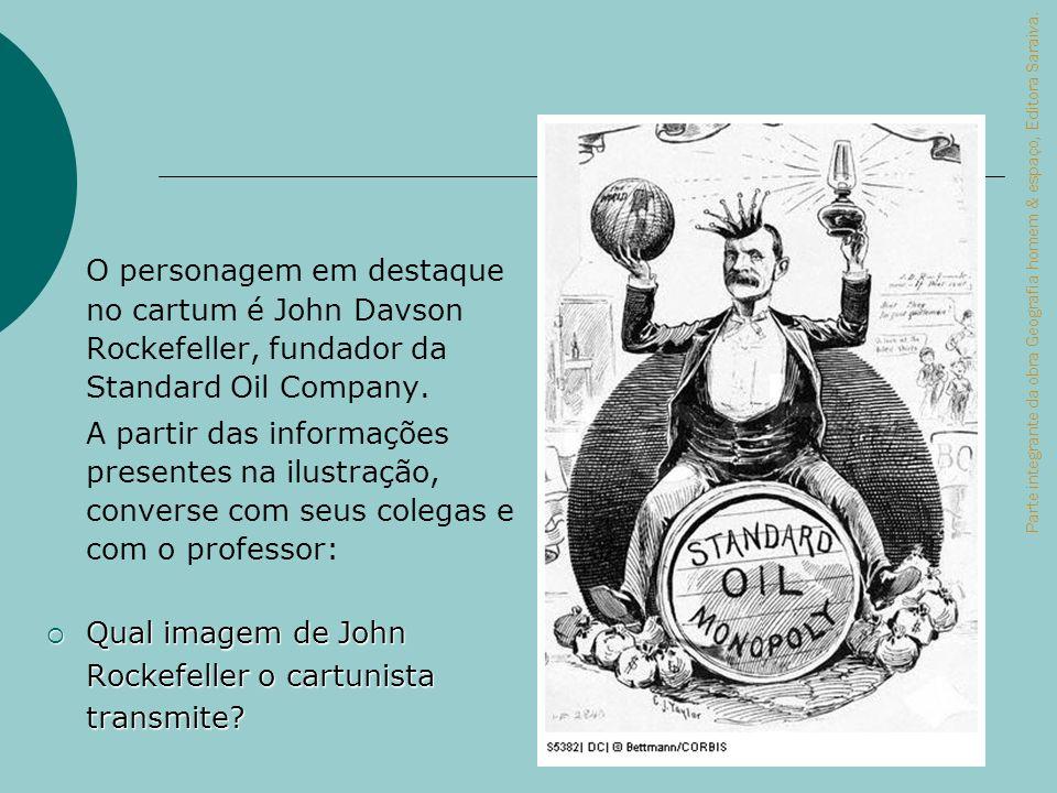 Qual imagem de John Rockefeller o cartunista transmite