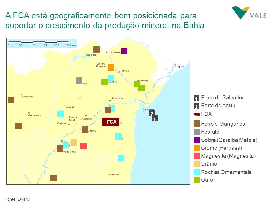 A FCA está geograficamente bem posicionada para suportar o crescimento da produção mineral na Bahia