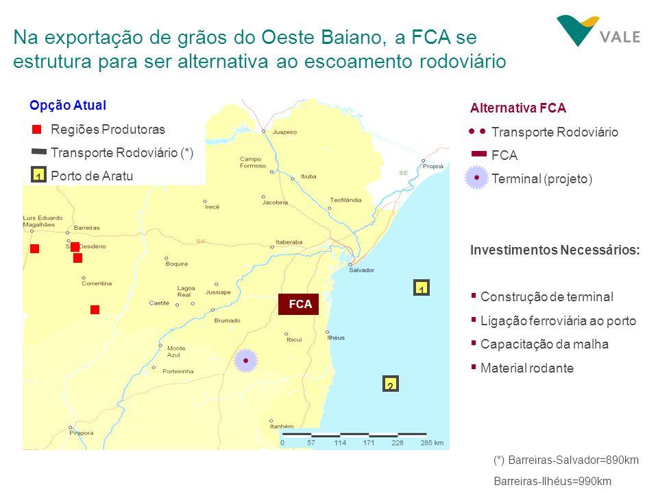 Na exportação de grãos do Oeste Baiano, a FCA se estrutura para ser alternativa ao escoamento rodoviário