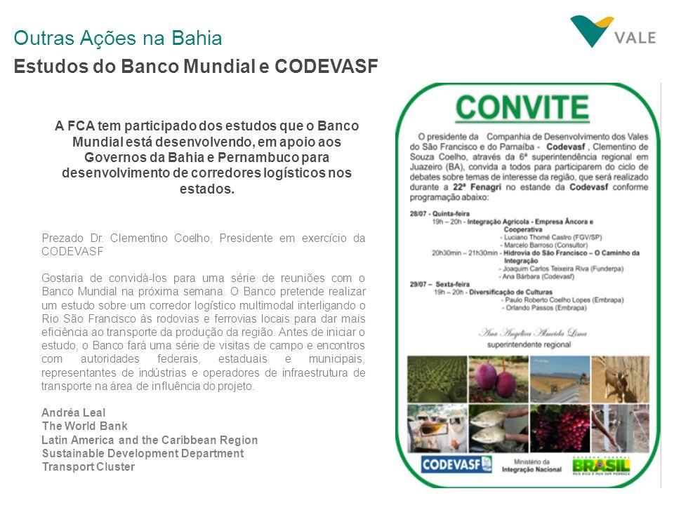 Outras Ações na Bahia Estudos do Banco Mundial e CODEVASF