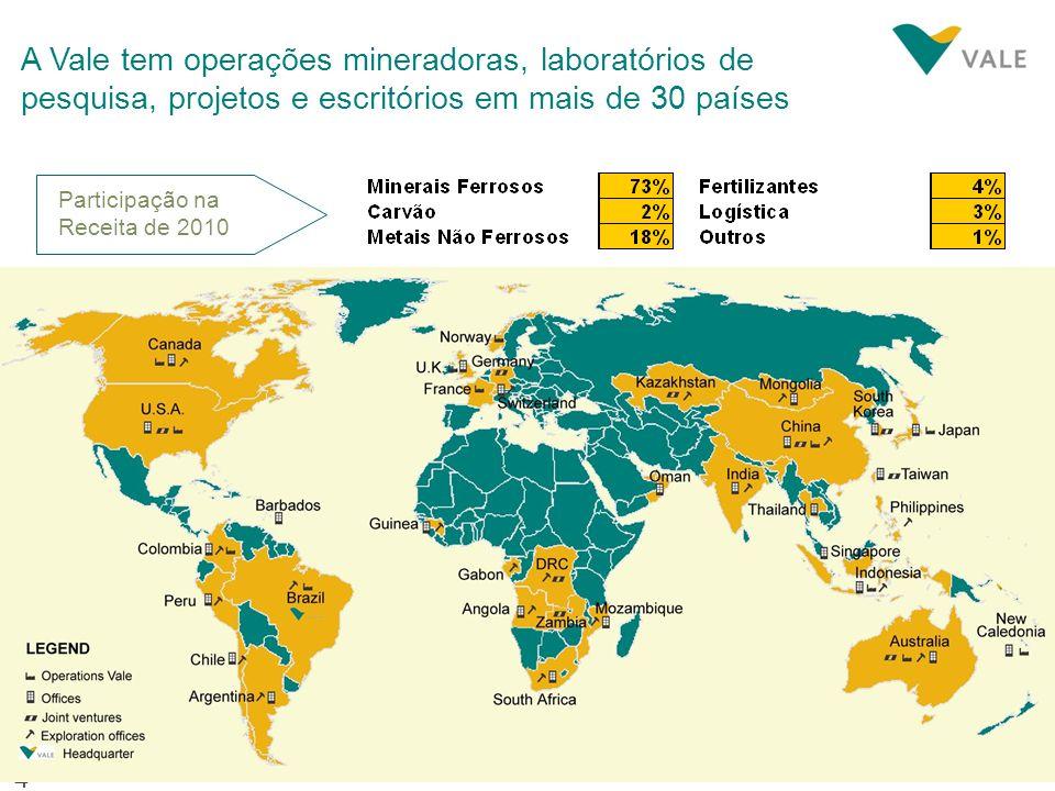 A Vale tem operações mineradoras, laboratórios de pesquisa, projetos e escritórios em mais de 30 países