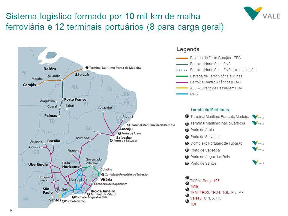 Sistema logístico formado por 10 mil km de malha ferroviária e 12 terminais portuários (8 para carga geral)