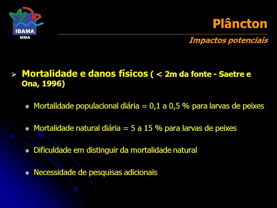Plâncton Impactos potenciais