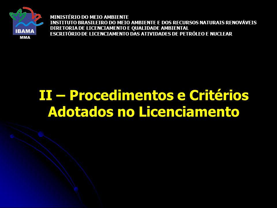 II – Procedimentos e Critérios Adotados no Licenciamento