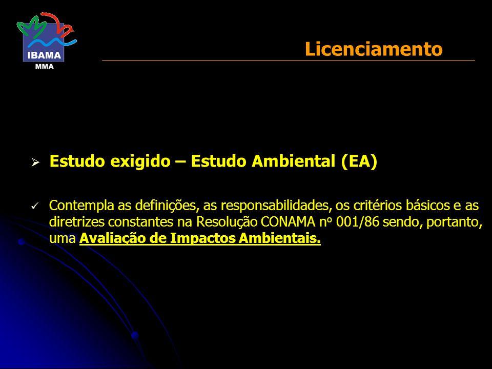 Licenciamento Estudo exigido – Estudo Ambiental (EA)