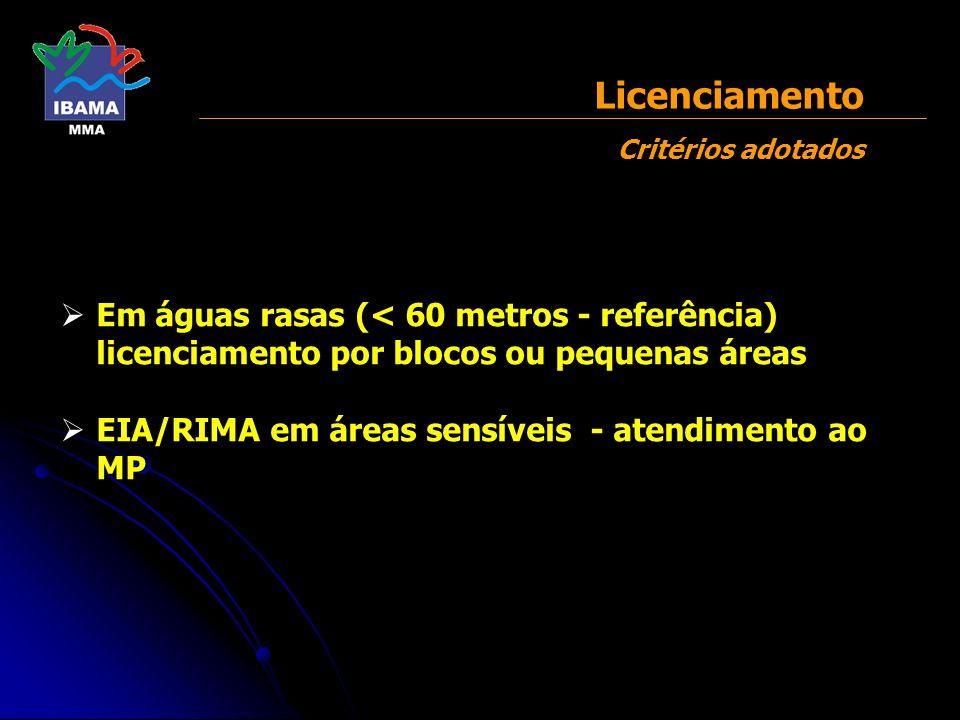 Licenciamento Critérios adotados
