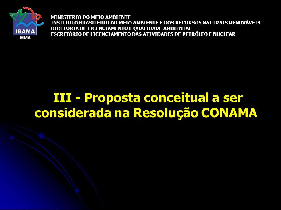 III - Proposta conceitual a ser considerada na Resolução CONAMA