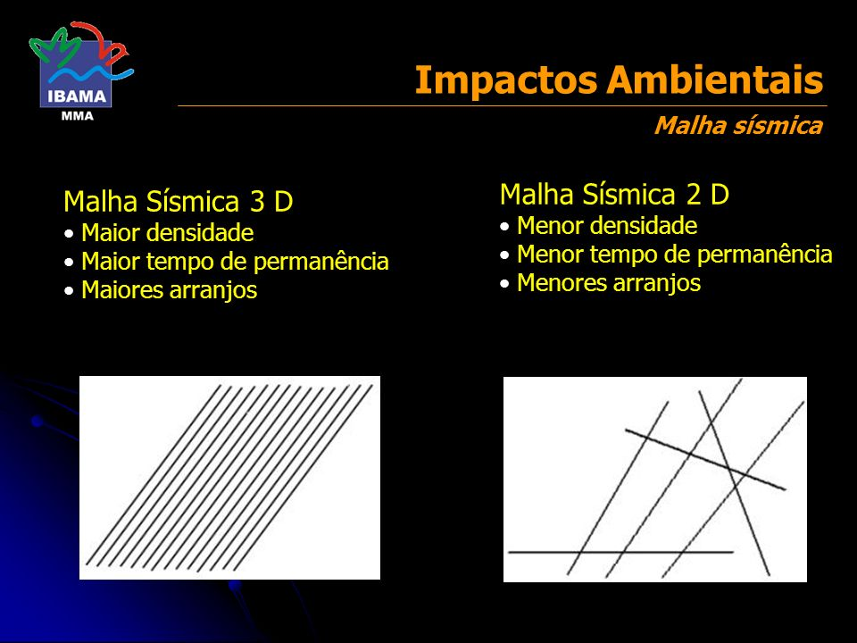 Impactos Ambientais Malha Sísmica 2 D Malha Sísmica 3 D Malha sísmica