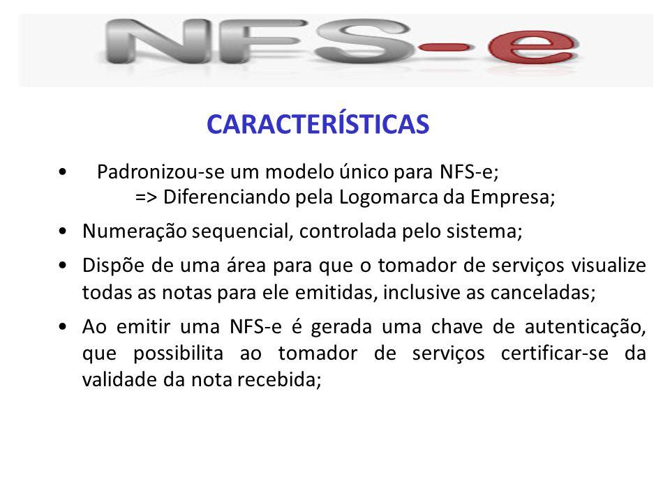 CARACTERÍSTICAS Padronizou-se um modelo único para NFS-e;