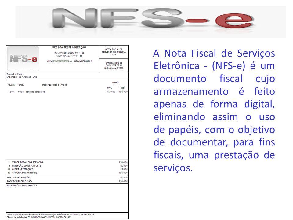 A Nota Fiscal de Serviços Eletrônica - (NFS-e) é um documento fiscal cujo armazenamento é feito apenas de forma digital, eliminando assim o uso de papéis, com o objetivo de documentar, para fins fiscais, uma prestação de serviços.