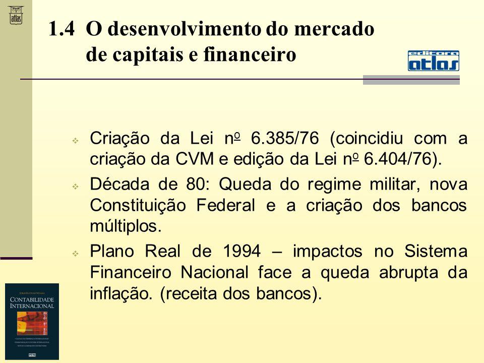 1.4 O desenvolvimento do mercado de capitais e financeiro