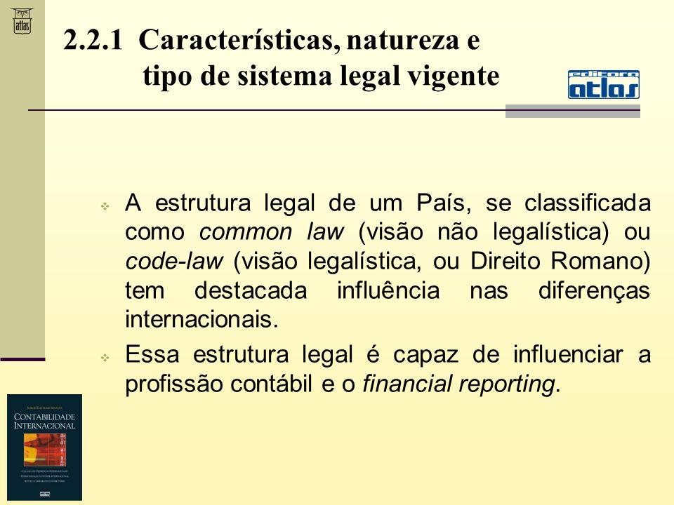 2.2.1 Características, natureza e tipo de sistema legal vigente