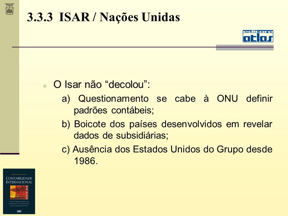 3.3.3 ISAR / Nações Unidas O Isar não decolou :