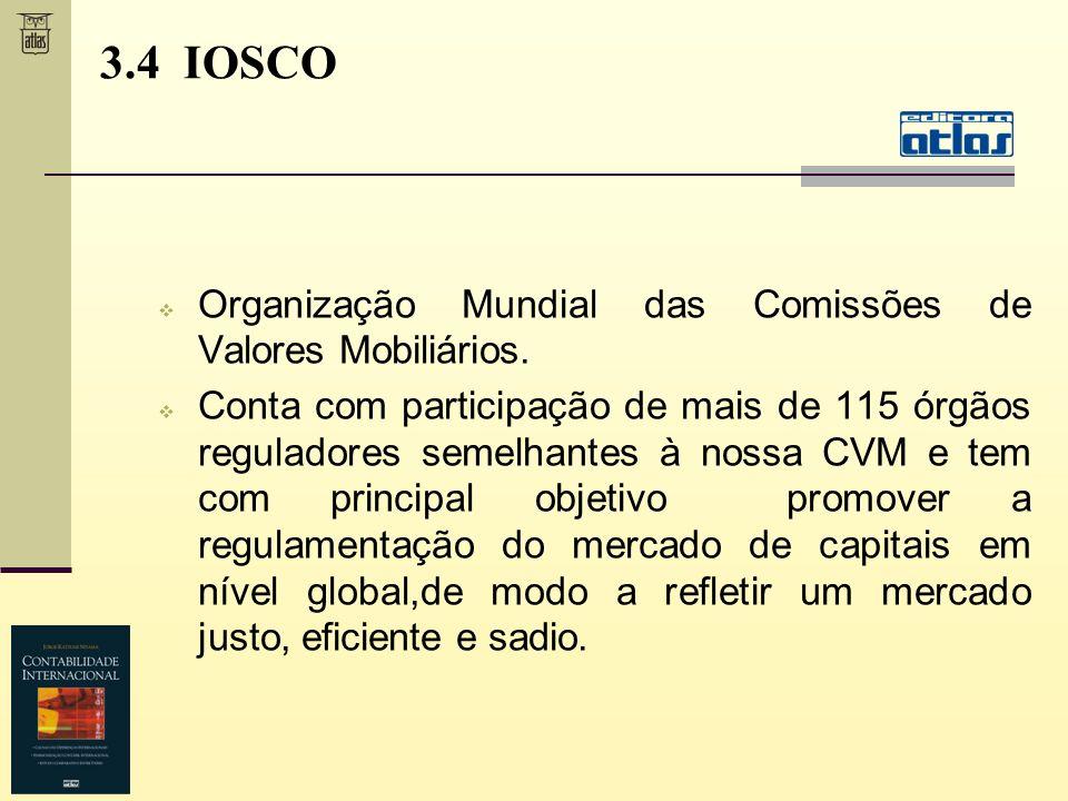 3.4 IOSCO Organização Mundial das Comissões de Valores Mobiliários.