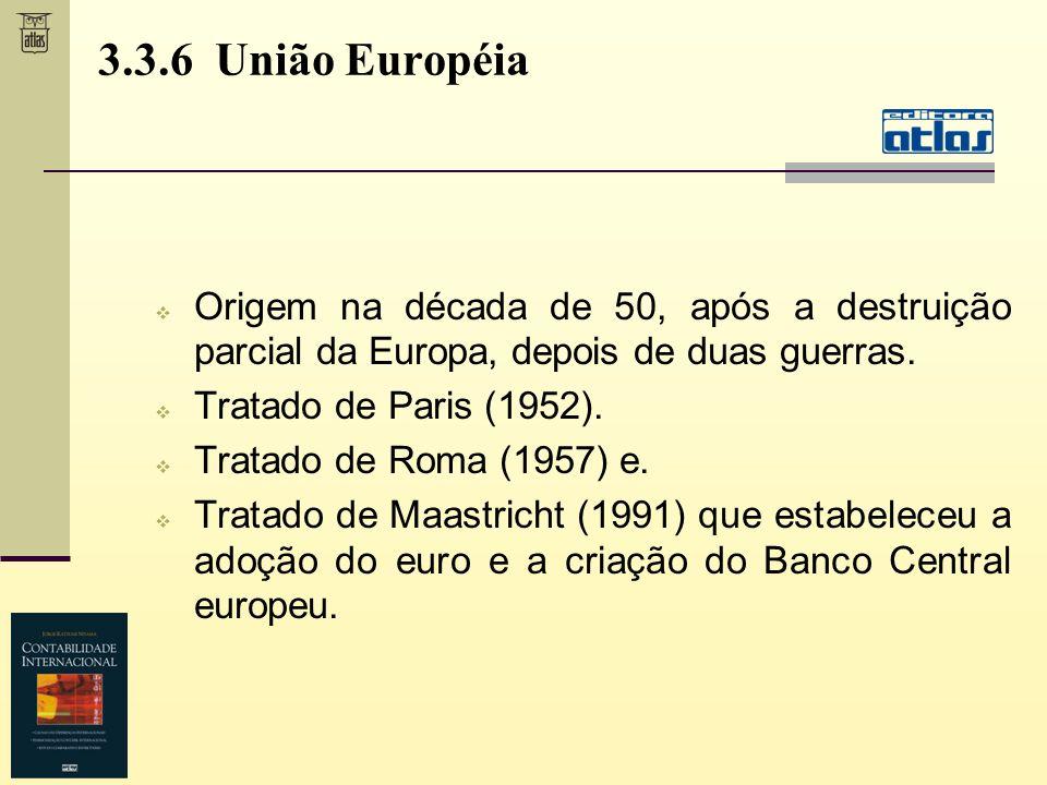 3.3.6 União Européia Origem na década de 50, após a destruição parcial da Europa, depois de duas guerras.