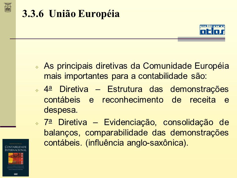3.3.6 União Européia As principais diretivas da Comunidade Européia mais importantes para a contabilidade são: