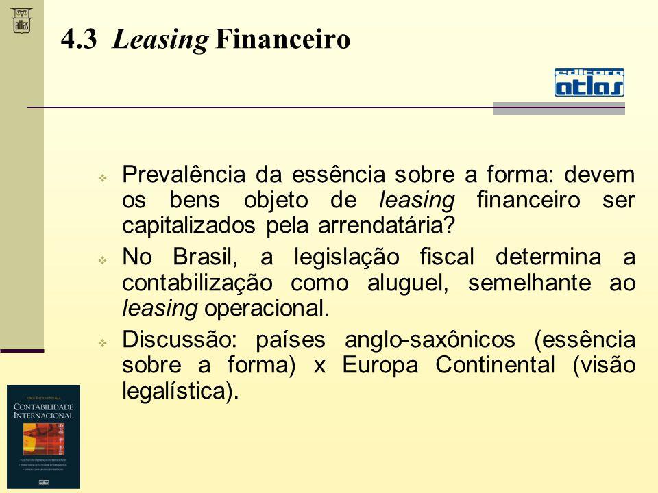 4.3 Leasing Financeiro Prevalência da essência sobre a forma: devem os bens objeto de leasing financeiro ser capitalizados pela arrendatária