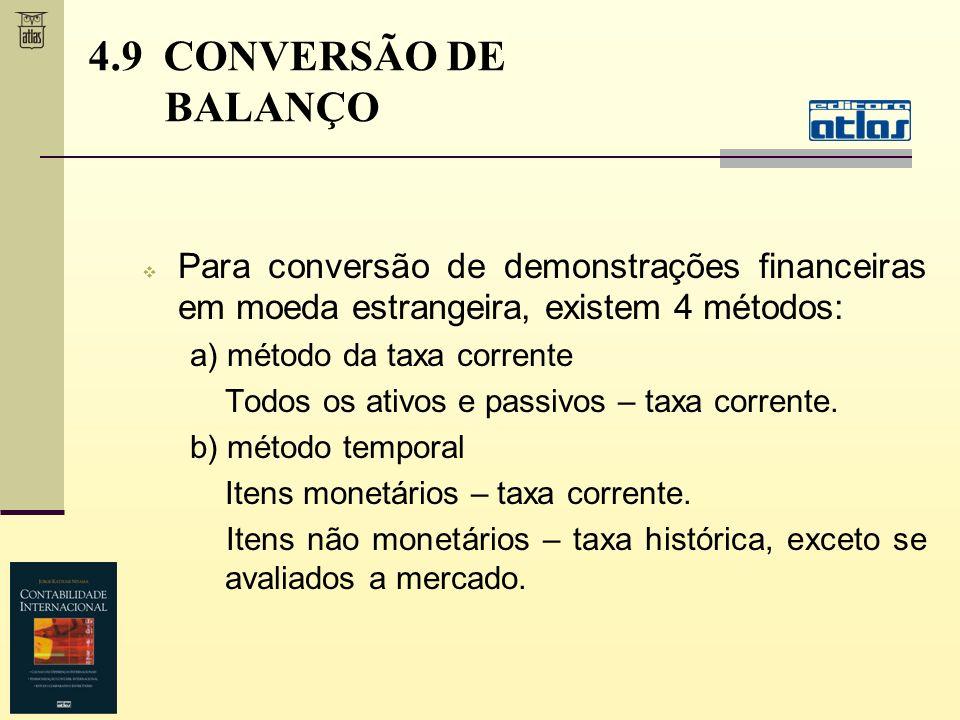 4.9 CONVERSÃO DE BALANÇO Para conversão de demonstrações financeiras em moeda estrangeira, existem 4 métodos: