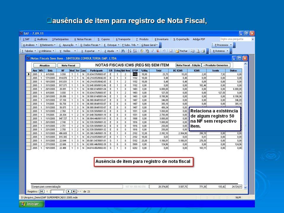 ausência de item para registro de Nota Fiscal,