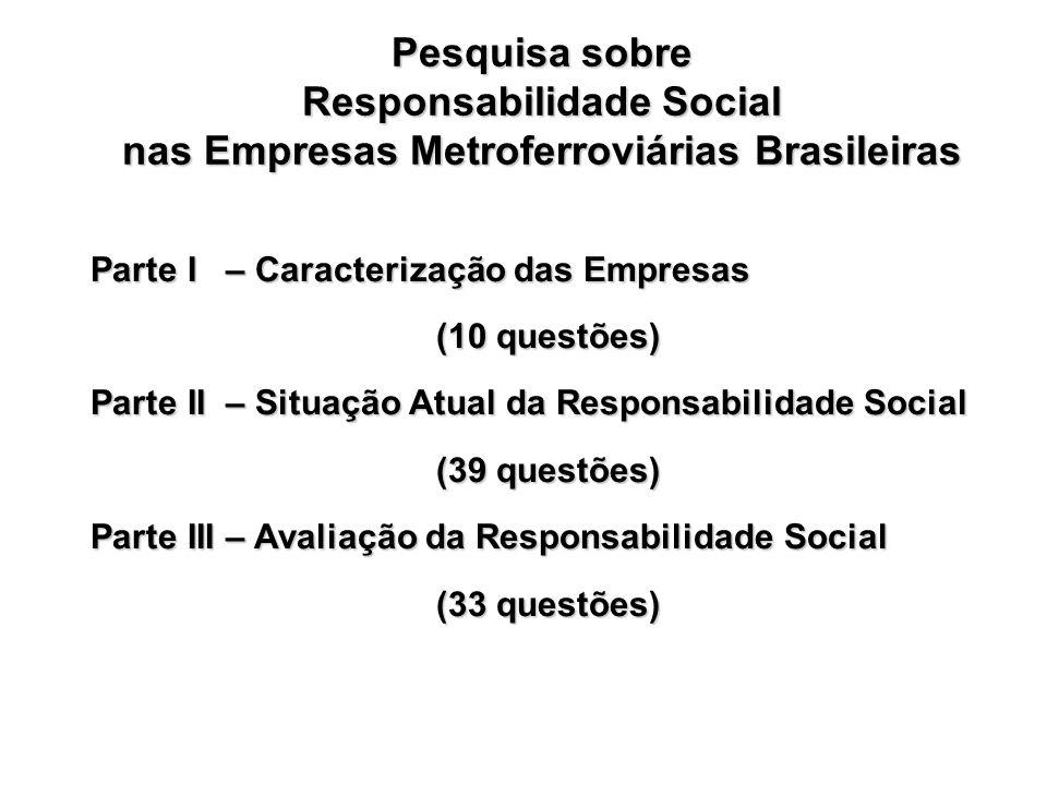 Responsabilidade Social nas Empresas Metroferroviárias Brasileiras