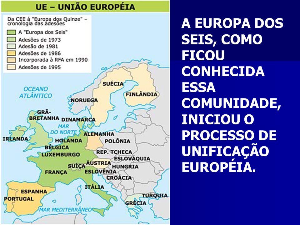 A EUROPA DOS SEIS, COMO FICOU CONHECIDA ESSA COMUNIDADE, INICIOU O PROCESSO DE UNIFICAÇÃO EUROPÉIA.