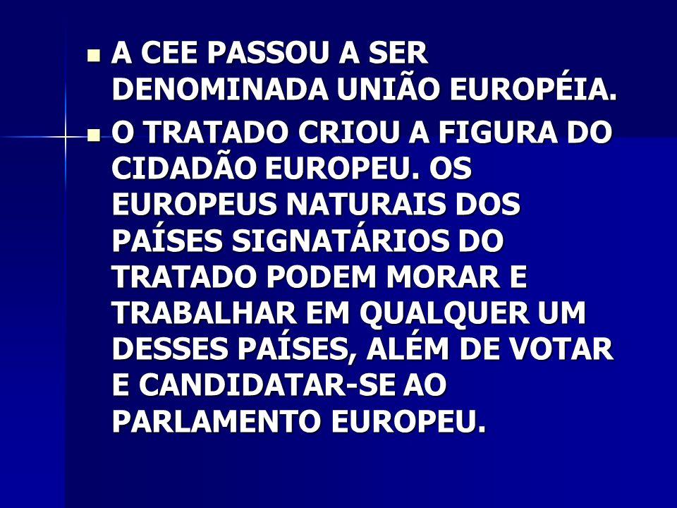 A CEE PASSOU A SER DENOMINADA UNIÃO EUROPÉIA.