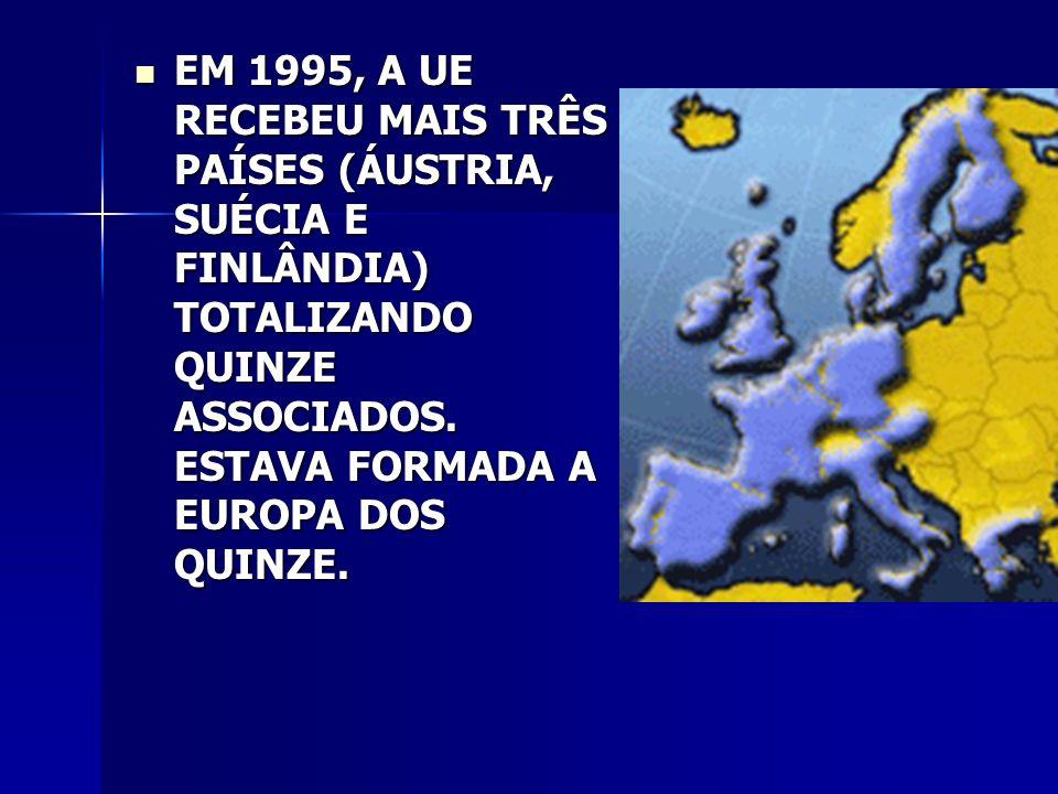 EM 1995, A UE RECEBEU MAIS TRÊS PAÍSES (ÁUSTRIA, SUÉCIA E FINLÂNDIA) TOTALIZANDO QUINZE ASSOCIADOS.