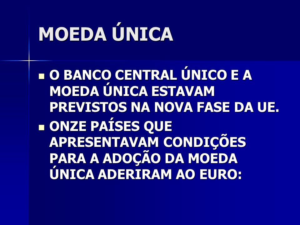 MOEDA ÚNICA O BANCO CENTRAL ÚNICO E A MOEDA ÚNICA ESTAVAM PREVISTOS NA NOVA FASE DA UE.