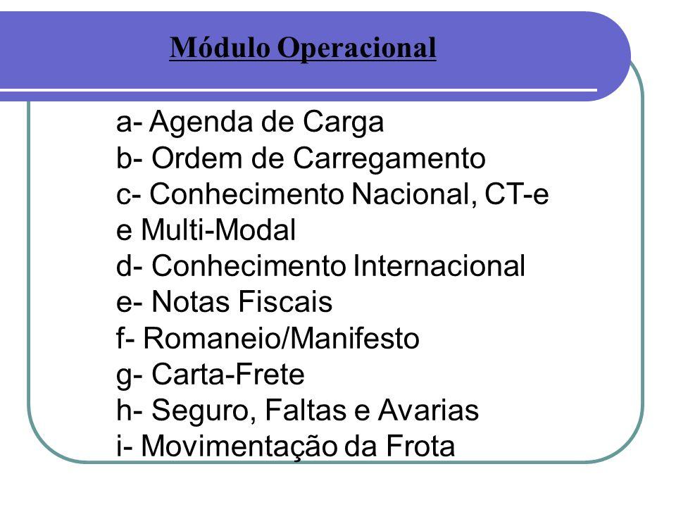Módulo Operacional a- Agenda de Carga. b- Ordem de Carregamento. c- Conhecimento Nacional, CT-e. e Multi-Modal.