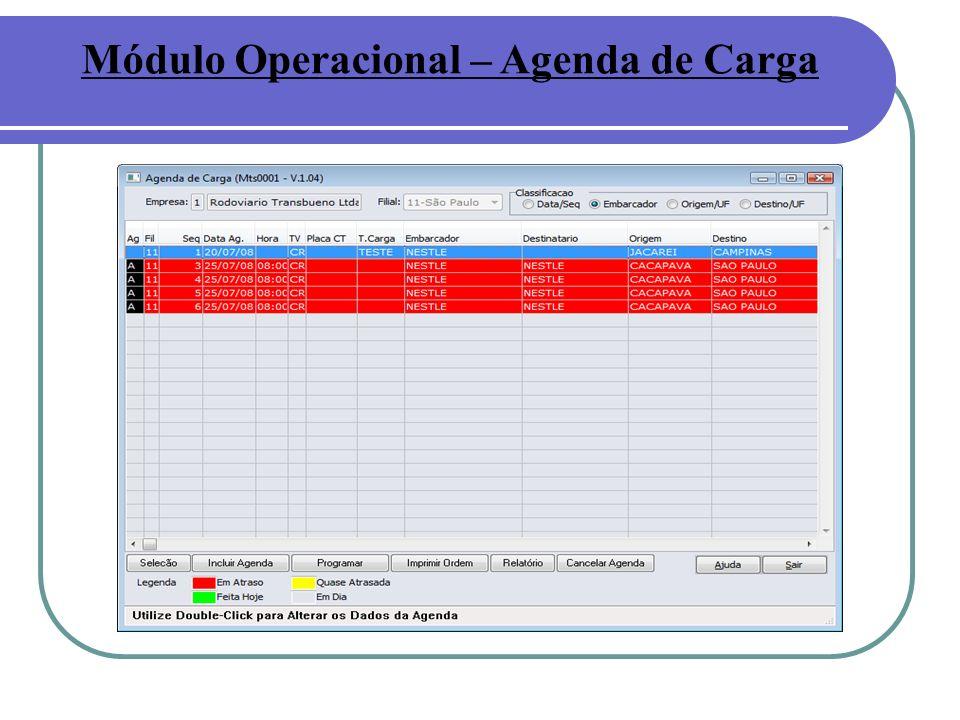 Módulo Operacional – Agenda de Carga