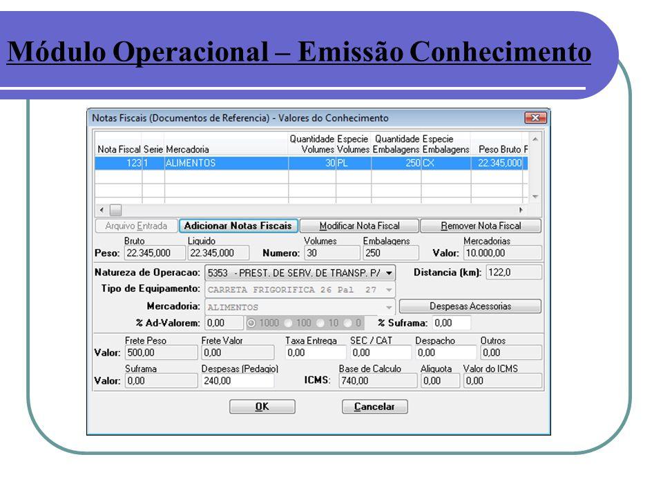 Módulo Operacional – Emissão Conhecimento