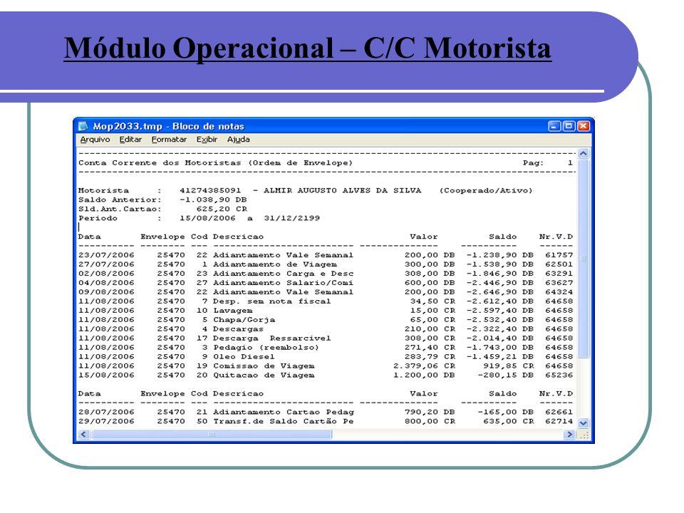 Módulo Operacional – C/C Motorista