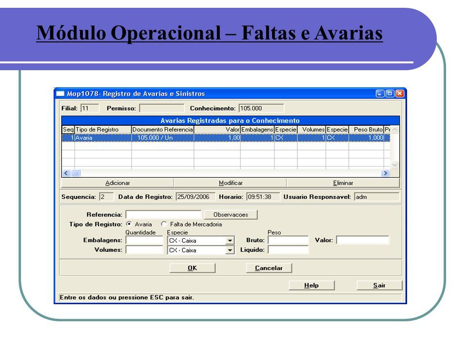 Módulo Operacional – Faltas e Avarias