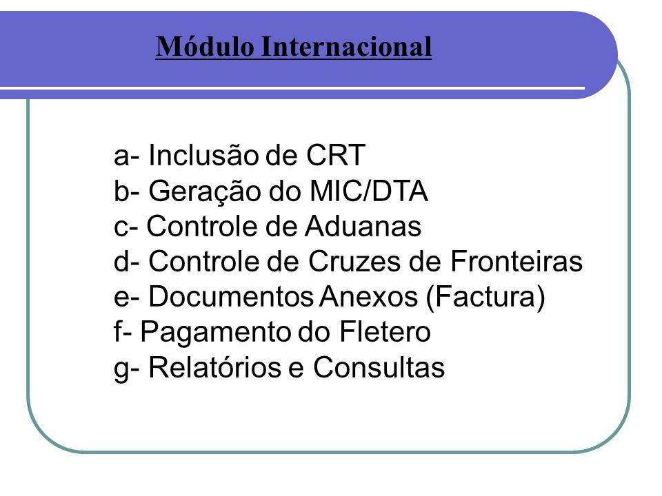 Módulo Internacional a- Inclusão de CRT. b- Geração do MIC/DTA. c- Controle de Aduanas. d- Controle de Cruzes de Fronteiras.