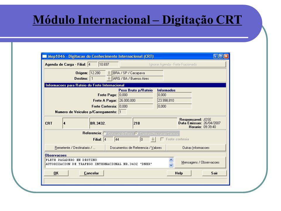 Módulo Internacional – Digitação CRT