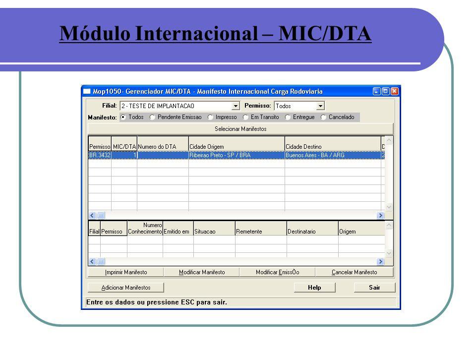 Módulo Internacional – MIC/DTA