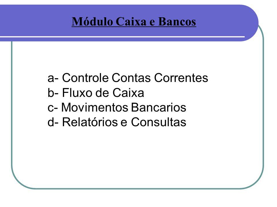 Módulo Caixa e Bancos a- Controle Contas Correntes.
