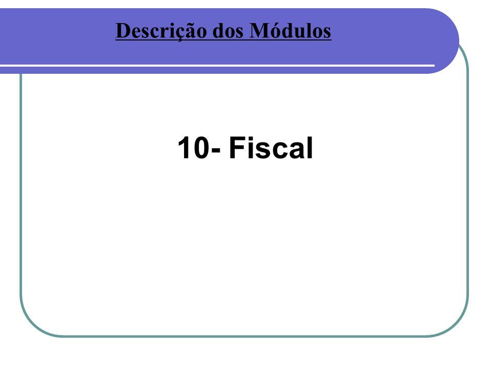 Descrição dos Módulos 10- Fiscal