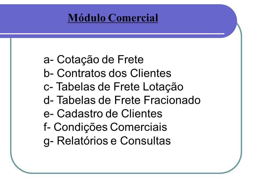 Módulo Comercial a- Cotação de Frete. b- Contratos dos Clientes. c- Tabelas de Frete Lotação. d- Tabelas de Frete Fracionado.