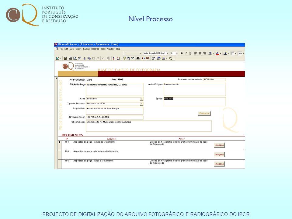 Nível Processo PROJECTO DE DIGITALIZAÇÃO DO ARQUIVO FOTOGRÁFICO E RADIOGRÁFICO DO IPCR