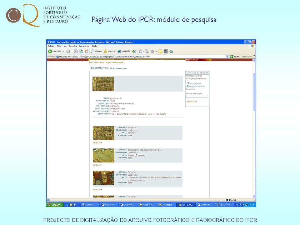 Página Web do IPCR: módulo de pesquisa