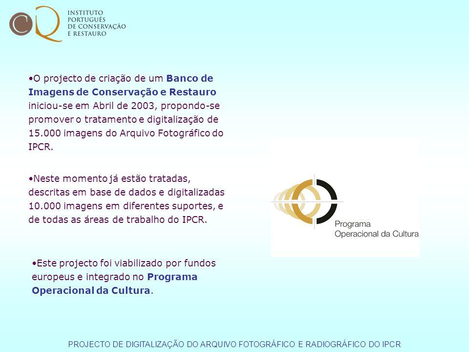 O projecto de criação de um Banco de Imagens de Conservação e Restauro iniciou-se em Abril de 2003, propondo-se promover o tratamento e digitalização de 15.000 imagens do Arquivo Fotográfico do IPCR.