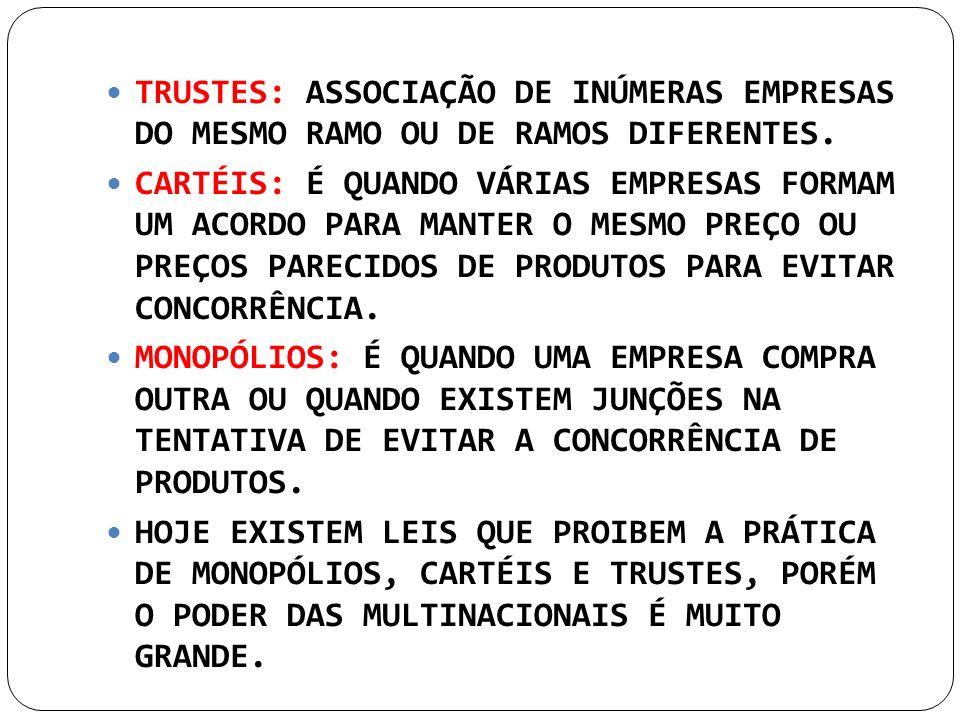 TRUSTES: ASSOCIAÇÃO DE INÚMERAS EMPRESAS DO MESMO RAMO OU DE RAMOS DIFERENTES.