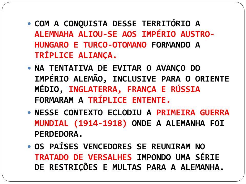 COM A CONQUISTA DESSE TERRITÓRIO A ALEMNAHA ALIOU-SE AOS IMPÉRIO AUSTRO- HUNGARO E TURCO-OTOMANO FORMANDO A TRÍPLICE ALIANÇA.