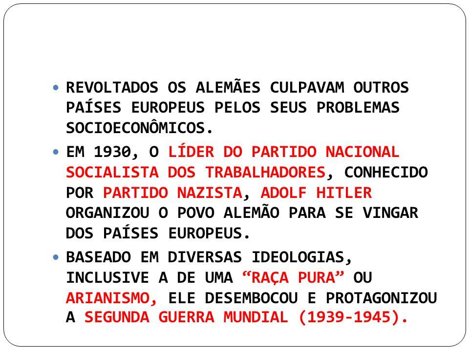 REVOLTADOS OS ALEMÃES CULPAVAM OUTROS PAÍSES EUROPEUS PELOS SEUS PROBLEMAS SOCIOECONÔMICOS.