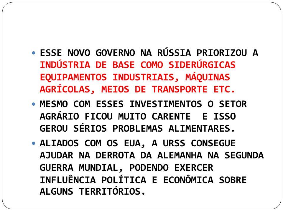 ESSE NOVO GOVERNO NA RÚSSIA PRIORIZOU A INDÚSTRIA DE BASE COMO SIDERÚRGICAS EQUIPAMENTOS INDUSTRIAIS, MÁQUINAS AGRÍCOLAS, MEIOS DE TRANSPORTE ETC.