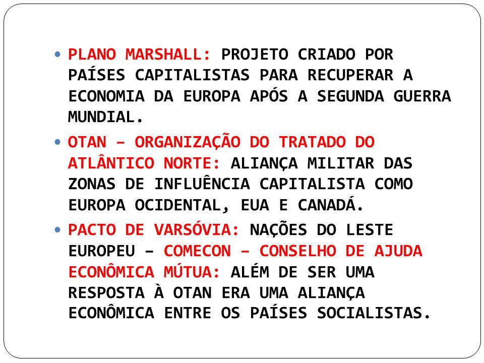 PLANO MARSHALL: PROJETO CRIADO POR PAÍSES CAPITALISTAS PARA RECUPERAR A ECONOMIA DA EUROPA APÓS A SEGUNDA GUERRA MUNDIAL.