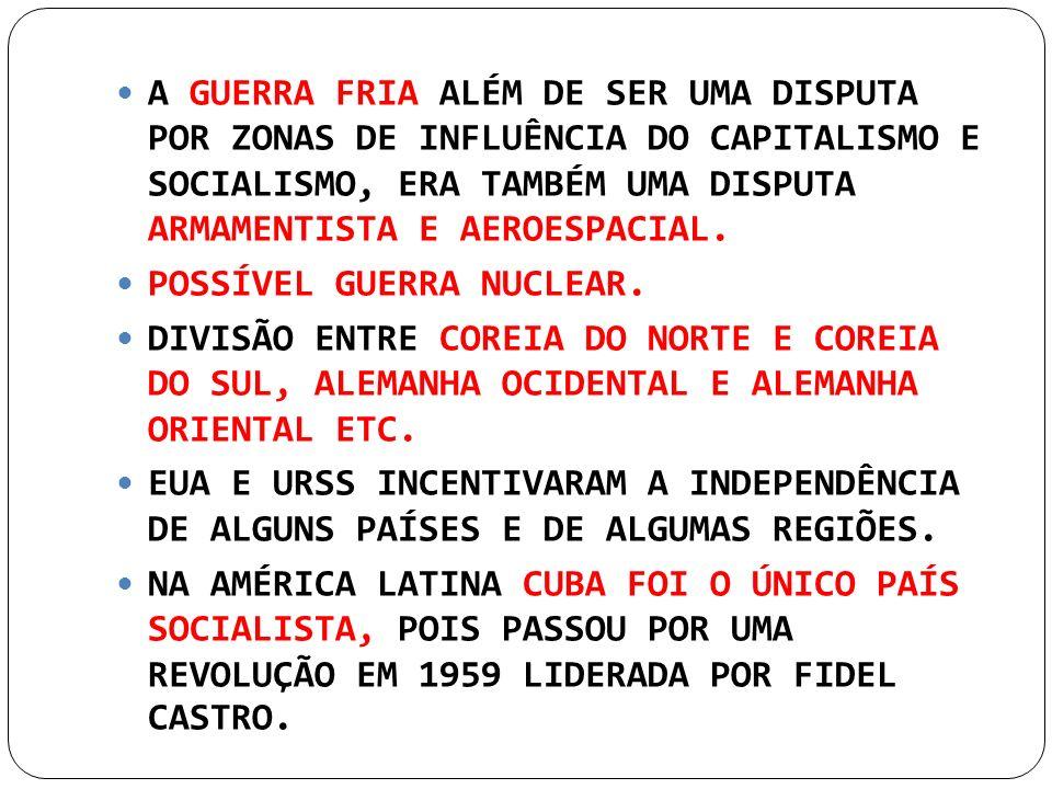 A GUERRA FRIA ALÉM DE SER UMA DISPUTA POR ZONAS DE INFLUÊNCIA DO CAPITALISMO E SOCIALISMO, ERA TAMBÉM UMA DISPUTA ARMAMENTISTA E AEROESPACIAL.