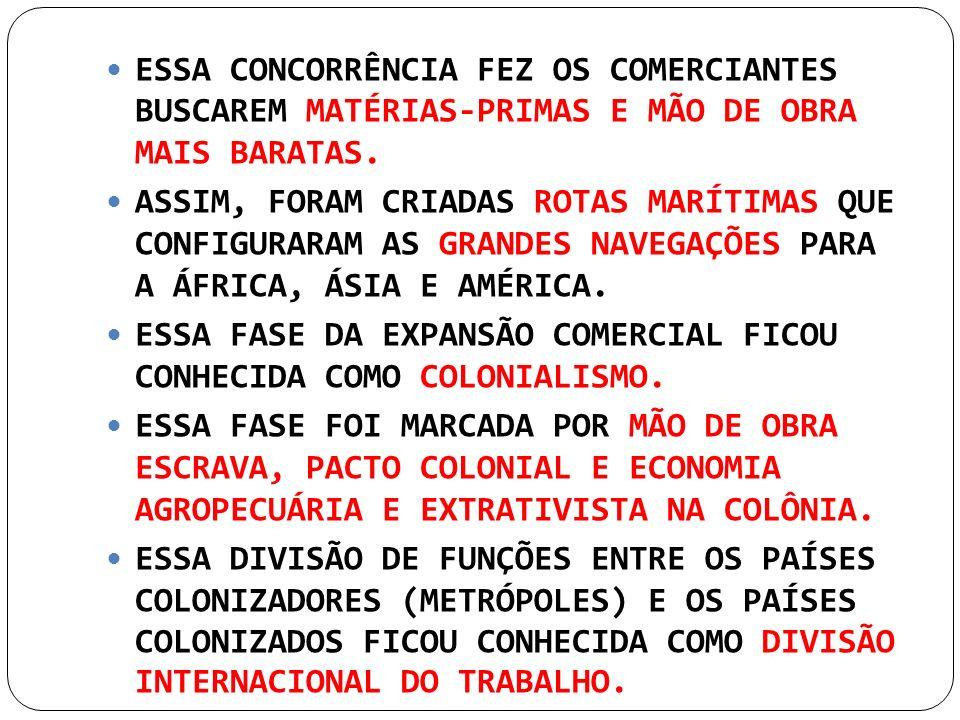 ESSA CONCORRÊNCIA FEZ OS COMERCIANTES BUSCAREM MATÉRIAS-PRIMAS E MÃO DE OBRA MAIS BARATAS.
