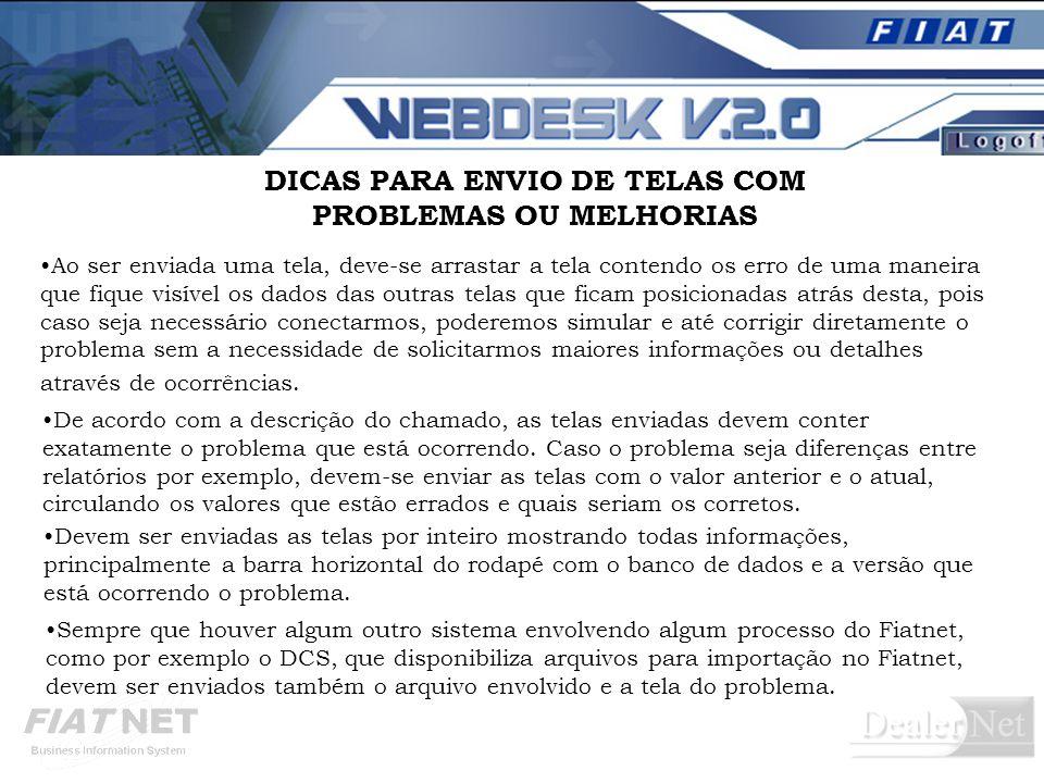DICAS PARA ENVIO DE TELAS COM PROBLEMAS OU MELHORIAS